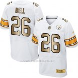 Camiseta Pittsburgh Steelers Bell Blanco Nike Gold Elite NFL Hombre
