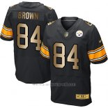 Camiseta Pittsburgh Steelers Brown Negro Nike Gold Elite NFL Hombre